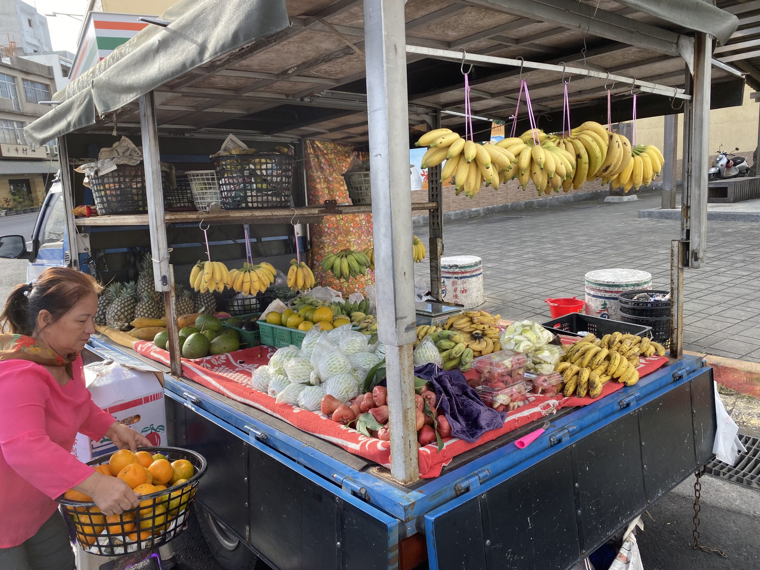 English Speaking Guesthouse and Minsu Fruits on a Truck Local Seller Relaxed Vacation Solo Traveller Couple